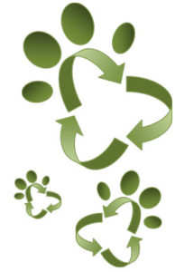 Recycle symbol as paw prints